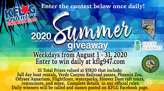Enter to win the online KFLG Country Summer 2020 Giveaway